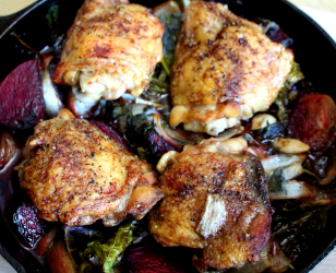 Roast Chicken Thighs With Beets and Kale