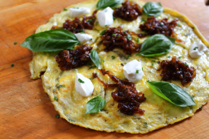 Basil Frittata with a Balsamic Onion Jam