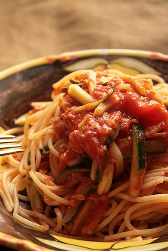 Spaghetti aux courgette et thon