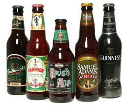 Samuel Adam's Irish Red, Guinness Pub Draught, Boulevard Irish Ale, Harpoon Celtic Ale, Smithwick's Irish Ale