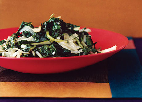 Sauteed Swiss Chard with Onions recipe