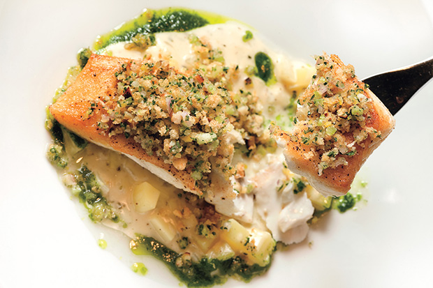 Black Cod with Fennel Chowder and Smoked Oyster Panzanella