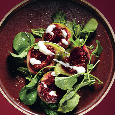 Fig Salad with Goats Milk Yogurt and Pepper Cress