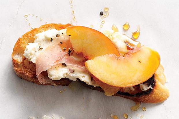 Easily Entertained - Peachy Recipes - Peach, Prosciutto & Ricotta Crostini
