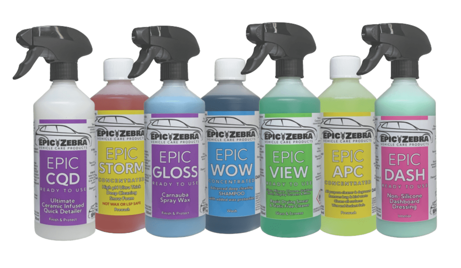 EpicZebra Vehicle Care Products Detailing Valeting example products