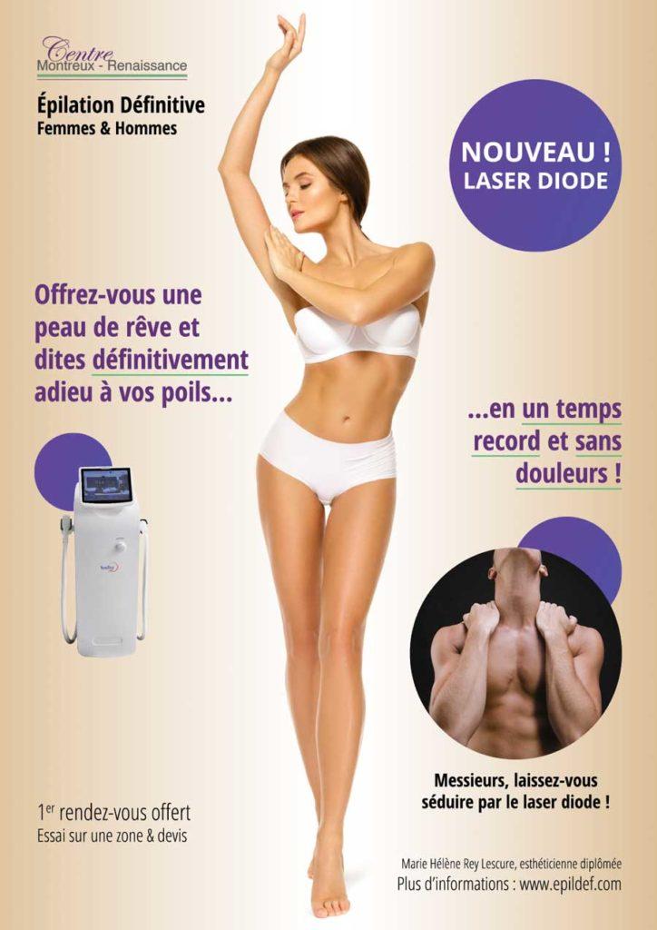 Offre de lancement : -20% sur toutes les zones pour une épilation définitive à la laser diode, sans douleurs, pour hommes et femmes, à Montreux.