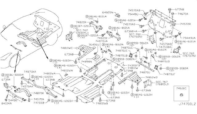Nissan OEM 748A0-KB50A Rear Under Carbon Fiber Diffuser