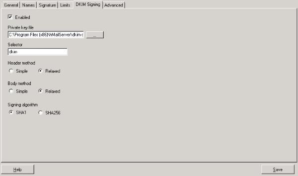 hMailServer DKIM Config
