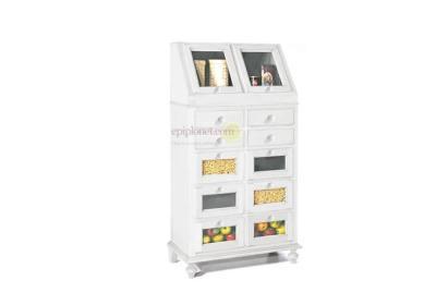 Συρταριέρα Κουζίνας - Τροφοθήκη Αντικέ με Τζάμι ΤΕ-126603