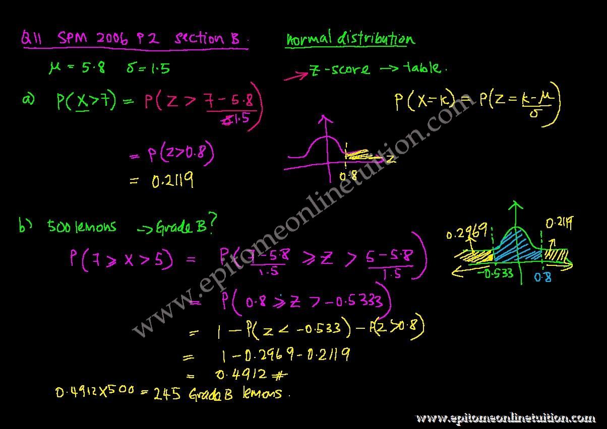 Spm Add Math Paper 2 Question 11 Normal Distribution