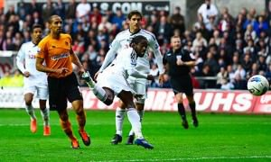 Nathan Dyer scores Swansea's third from Andrea Orlandi's cross
