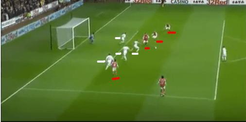 Swansea Defence at Monreal Goal