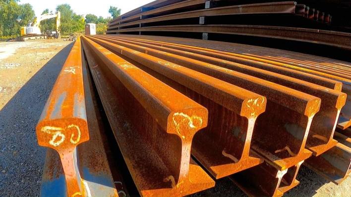 Stack of track rail for SWLRT.