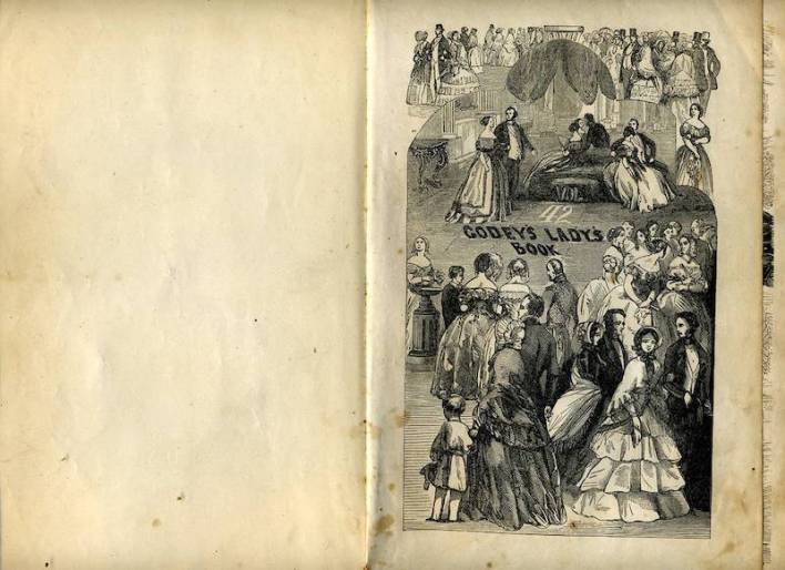 An old illustration on a yellowed page of a Lady's Godey's book