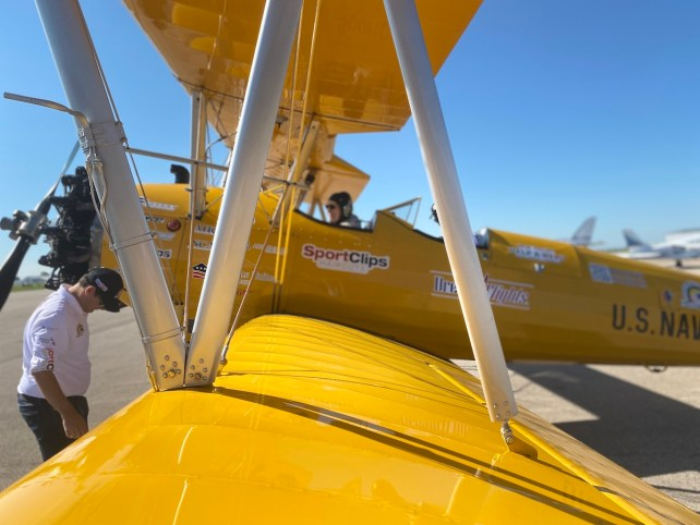 A close up look at the wing of the biplane