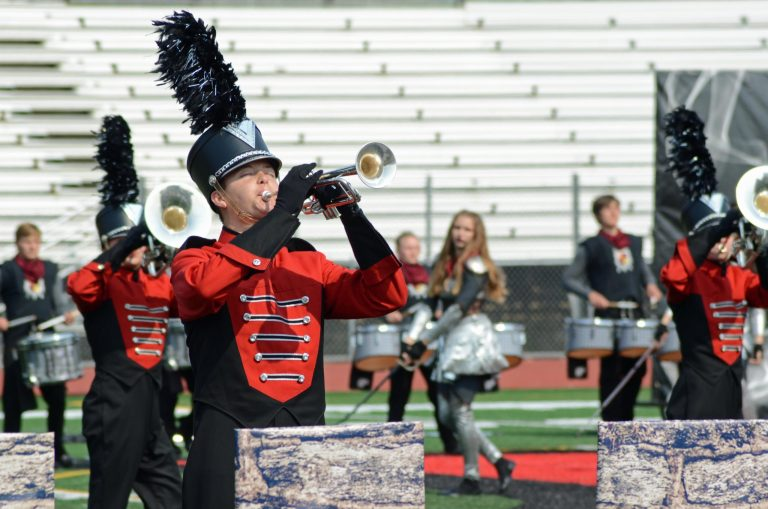 Brandon Valley, SD trumpet player at Prairie Colors Marching Band Festival Sept. 11, 2021