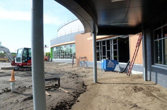 Exterior view of Central Middle School looking towards new PAC. August 2021