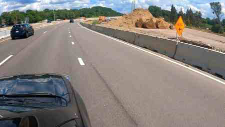 The view of road construction on Highway 62 from the view of a car