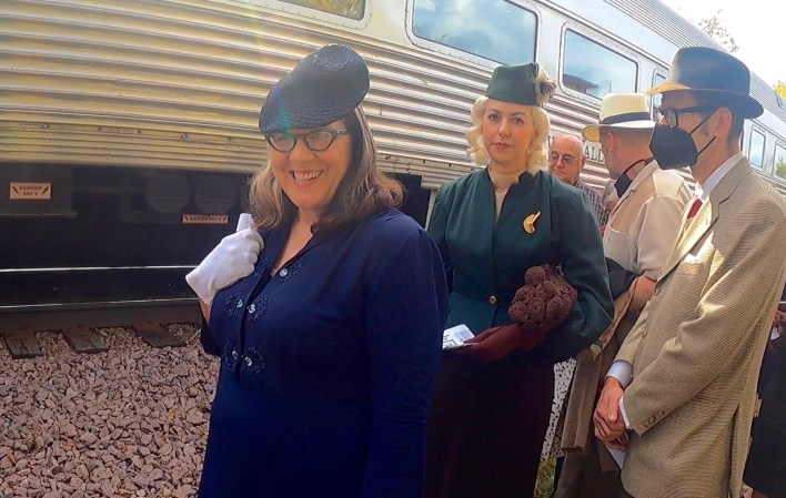 Image of women dressed up for train trip 10-3-21