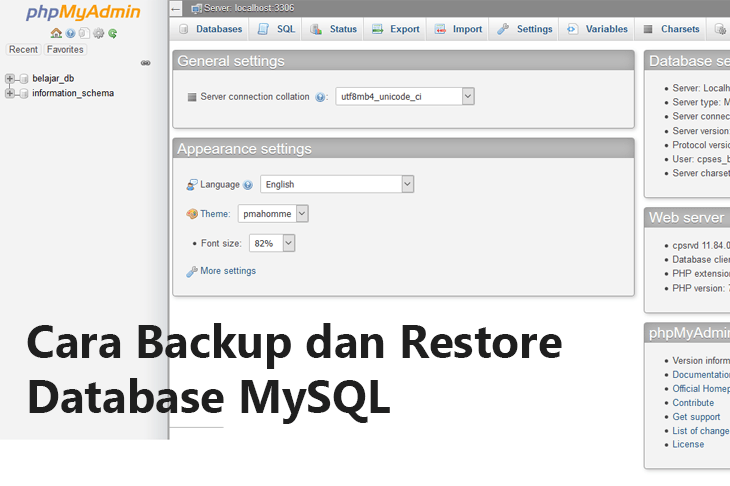 Cara Backup dan Restore Database MySQL