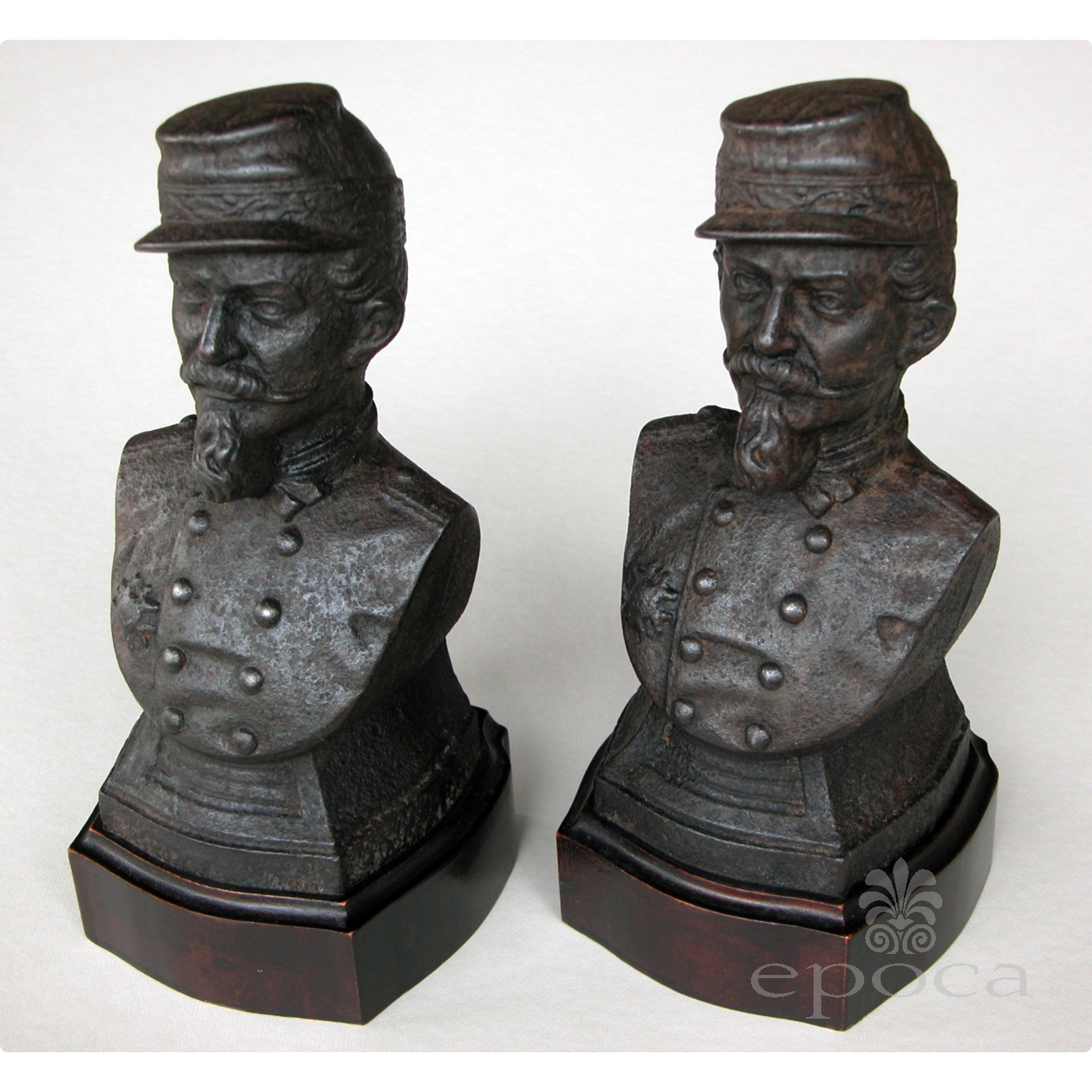 a handsome pair of french napoleon III cast iron busts of