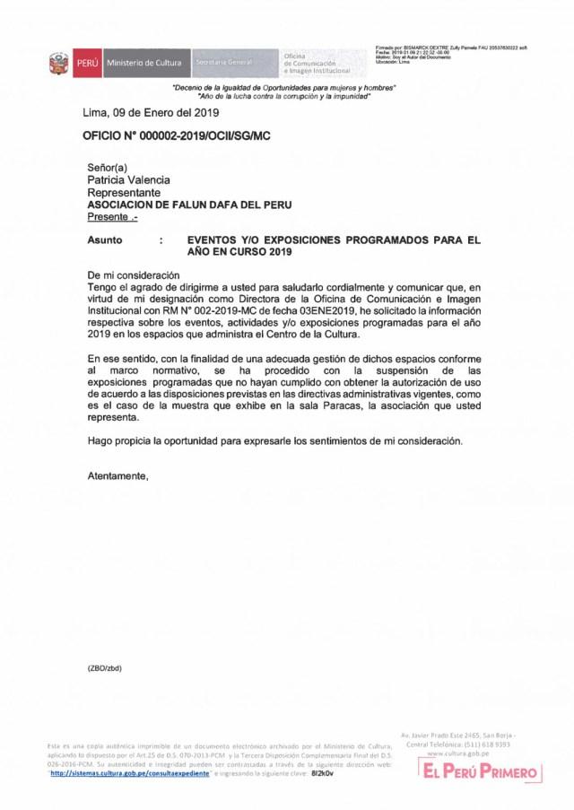 Carta do Ministério da Cultura do Peru em que notificam o encerramento da mostra