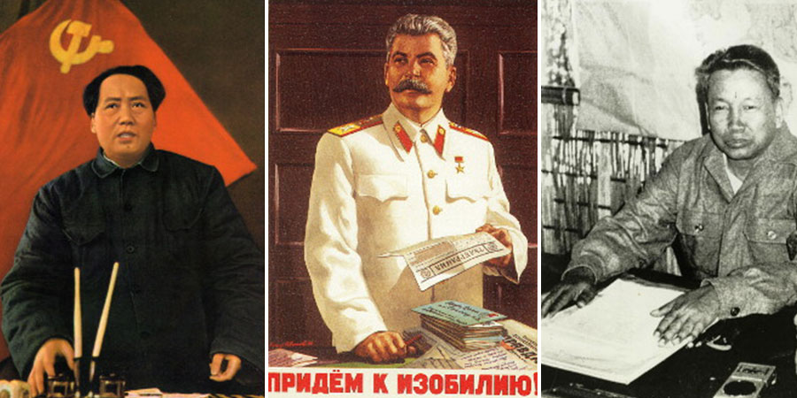 (E-D) Mao Tsé-Tung (Print Collector / Getty Images); Josef Stalin (Rps / Ullstein bild / Getty Images); Pol Pot (Rolls Press / Popperfoto / Getty Images)