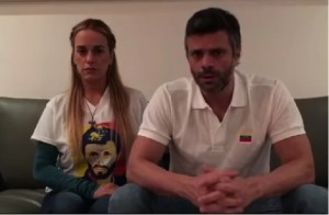 Leopoldo López e sua esposa, Lilian Tintori (Captura de tela do Youtube)