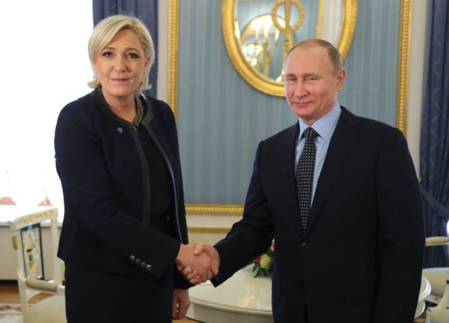 TOPSHOT - Russian President Vladimir Putin meets with French presidential election candidate for the far-right Front National (FN) party Marine Le Pen at the Kremlin in Moscow on March 24, 2017. / AFP PHOTO / SPUTNIK / Mikhail KLIMENTYEV        (Photo credit should read MIKHAIL KLIMENTYEV/AFP/Getty Images)