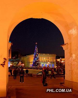 35-метровая елка, украшенная игрушечными поросятами, будет радовать киевлян все Новогодние праздники. Фото: http://phl.com.ua