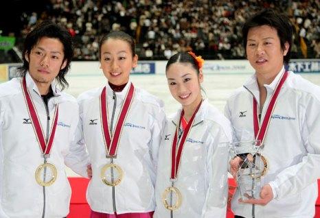 Команда Японии: Дайсуке Такахаши, Мао Асада, Юкари Накано, Такеши Хонда. Фото: Koichi Kamoshida/Getty Images