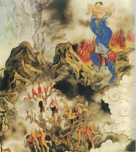 Служитель Ада раз за разом бросает грешников на острые ветки дерева, которые насквозь пронизывают их тело.