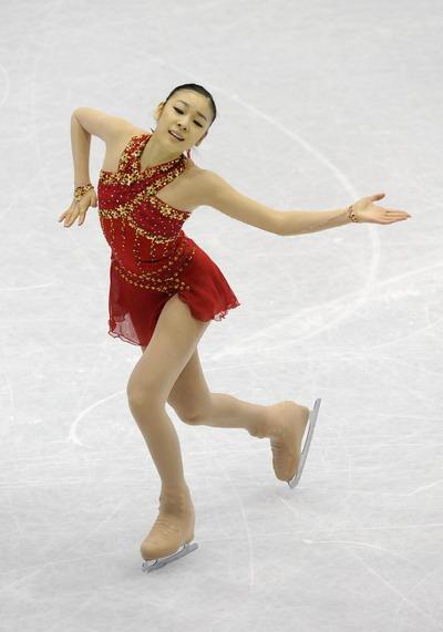 Ю-На Ким (Южная Корея) исполняет произвольную  программу. Фото: JUNG YEON-JE/AFP/Getty Images