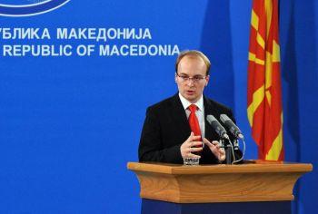 Министр Иностранных дел Македонии Антонио Милошевски во время пресс-конференции 17 ноября 2008 г. в Скопье. Фото: Robert Atanasovski /AFP /Getty Images