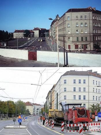 На верхнем фото, сделанном в июне 1968 года в Берлине, запечатлена стена. На нижнем фото, сделанном в том же месте 20 октября 2009 года, стены уже нет. Фото: JOHN MACDOUGALL/AFP/Getty Images