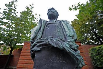 Памятник Альфреду Нобелю в Стокгольме, в Швеции. Фото: OLIVIER MORIN/AFP/Getty Images