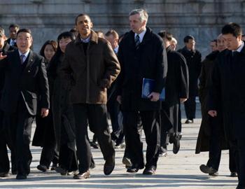 В Пекине проходит встреча президента США Барака Обамы с китайским лидером Ху Цзинтао. Фото: SAUL LOEB/AFP/Getty Images