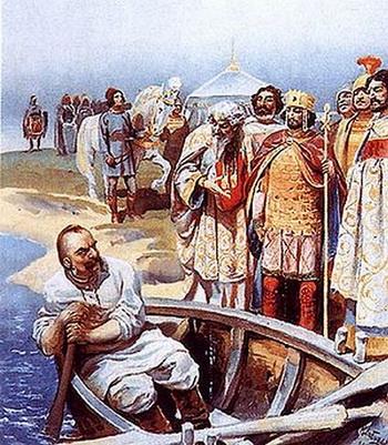 Картина Клавдия Лебедева «Святослав встречается с ИоаномIЦимисхием, византийским императором с 969 по976 годы. Фото:Wikipedia.org
