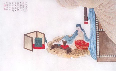 Вторая картина: Вэньцзи было трудно привыкнуть к культуре и пище гуннов.
