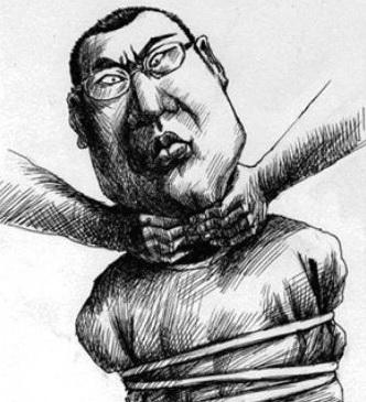 «Этот человек - настоящий гражданин Китая, и это его нынешнее положение, а зовут его Чан Пин». Рисунок карикатуриста Куан Бяо, «Southern Metropolis Dail». Фото: Sina microblog / RFA