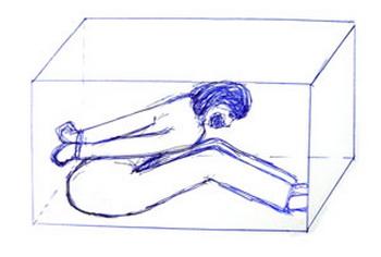 Пытка маленькой камерой.Рис с minghui.org.