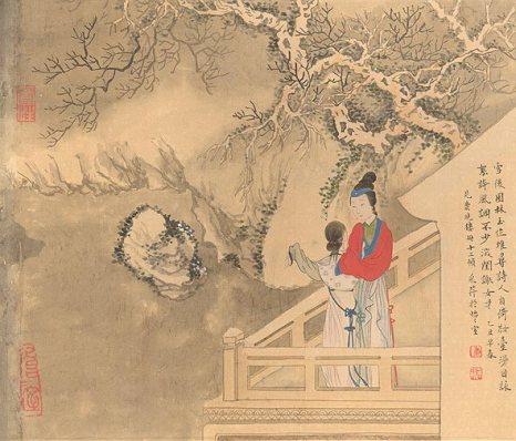 Китайская живопись. Картина художницы Чжан Цуйин Китайская живопись. В бамбуковом лесу девушка играет на гучжене. Чжан Цуйин