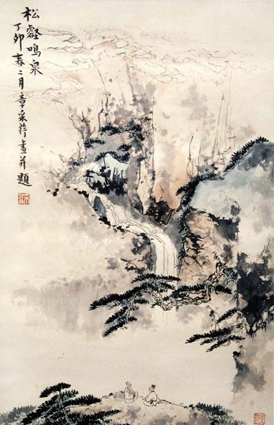 Китайская живопись. Ущелье, сосны и родник. Чжан Цуйин