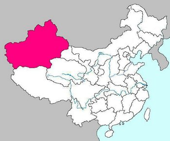 Мощное землетрясение магнитудой 6,0 произошло в КНР, в Синьцзян-уйгурском автономном районе (выделено розовым). Фото: wikipedia.org
