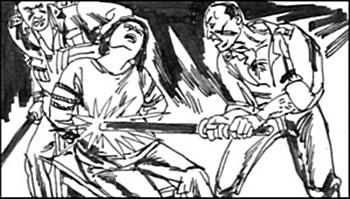К заключённым в китайских лагерях применяются многочисленные виды пыток. Рисунок с epochtimes.com