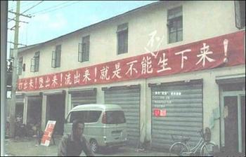 Надпись на транспаранте в одном из китайских уездов: «Выбить! Абортировать! Исторгнуть! Только не родить!» Фото с epochtimes.com