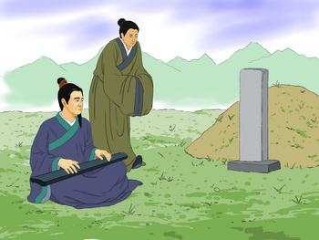 Боя играет на своем инструменте перед могилой своего друга-дровосека. Иллюстрация: Цзычин Чэнь/Великая Эпоха