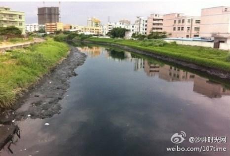 Уровень загрязнения реки Маочжоу достиг самой высшей пятой степени. Фото с epochtimes.com