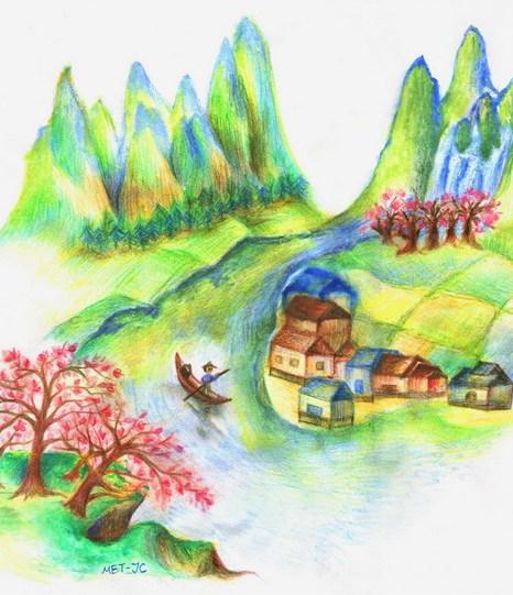 Рыбак грёб, пока не нашёл загадочную персиковую рощу, полную людей, которые сбежали от забот этого мира. Иллюстрация: Jessica Chang/Великая Эпоха (The Epoch Times)
