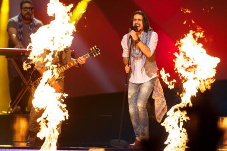 Рок-группа Dorians из Армении выступила на генеральной репетиции перед 2 полуфиналом Евровидения-2013. Фото:  Ragnar Singsaas/Getty Images